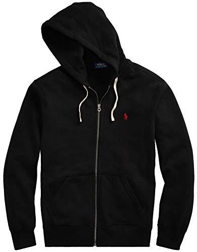 Polo Ralph Lauren Classic Full-Zip Fleece Hooded Sweatshirt - L - Black Red Pony