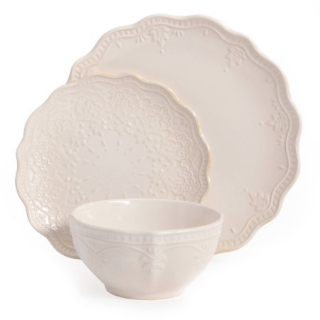 Linen Farmhouse Lace 12-Pc Dinnerware Set