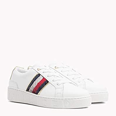 TOMMY HILFIGER Women's Signature Sequinned Lace-Up Trainers Signature Sequinned Lace-Up Trainers, White, 37 EU