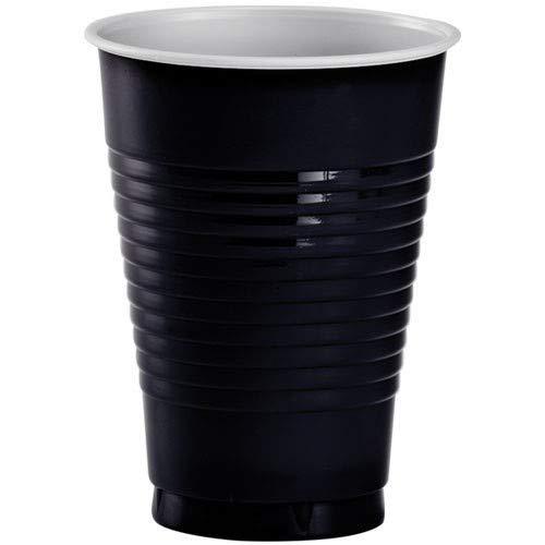 JF World Jet Black Plastic Cups 16oz 50ct