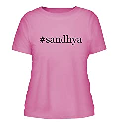 Sandhya A Nice Hashtag Misses Cut Womens Short Sleeve T Shirt Pink Large