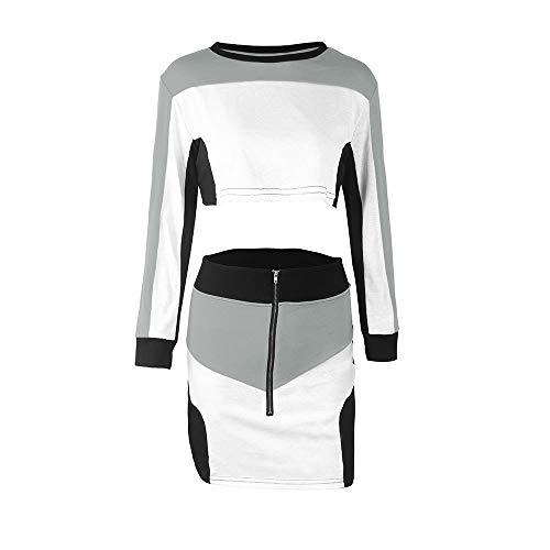 Costume Taille Ensembles Sport Femmes Jupe Weant Chemisier Tops dcontract U Longues 2pcs Blouse Grande Shirt Casual Blouse Col Femme Manches Longues Sweat Gris survtement Manches Usure 1S1Tqa