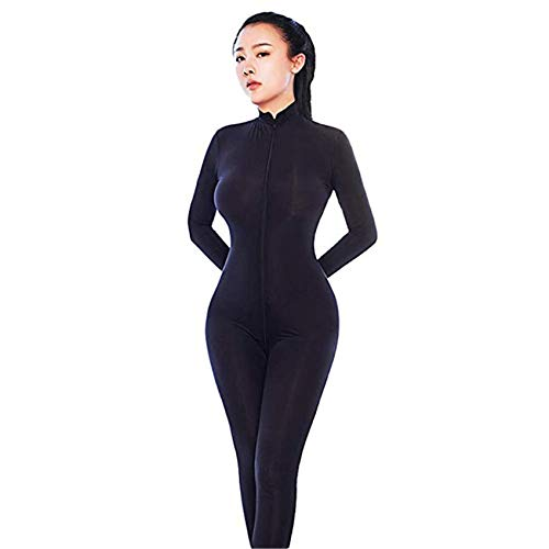 Liangliang Sheer Opaque Front Zip Vertical Stripes Spandex Zentai Catsuit Bodysuit Night Club ()