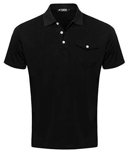 - Musen Men Polo Shirts Classic Shirts Short Sleeve Sport T-Shirts Cotton Slim-fit Tops Golf Polos for Men Black Large