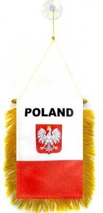 AZ FLAG Poland with Eagle Mini Banner 6'' x 4'' - Polish Coat of arms Pennant 15 x 10 cm - Mini Banners 4x6 inch Suction Cup Hanger