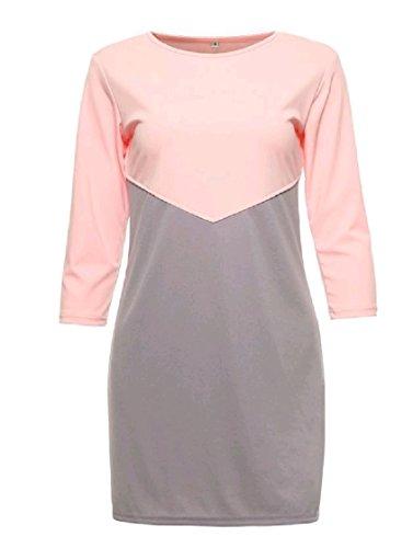 Coolred-femmes Manches 3/4 Vogue Bloc De Couleur Ras Du Cou De Pattern3 Robe Courte