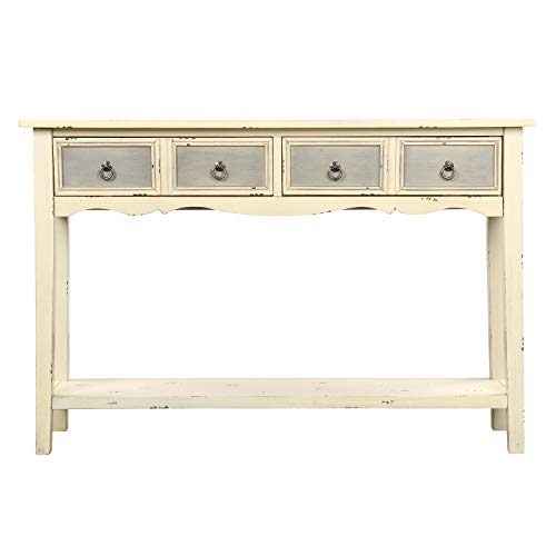 M&W Rustic Wood Console Table with 2 Drawers, Sofa Table for Entryway, Hallway and Living Room, Cream White Finish