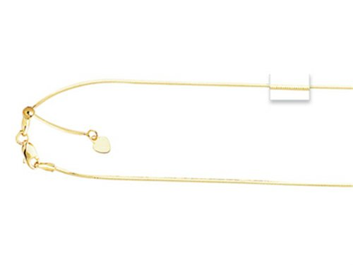 14K 22 Inch bright-cut Adjustable Octagon Chain Necklace with Lobster Clasp and Small Heart Charm (Adjustable 22 Inch Necklace)