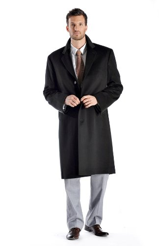 Men's Knee Length Cashmere Blend Overcoat