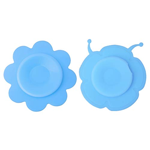 UPKOCH 2 Pcs Baby Bowl Suction Pad Non-Slip Silicone Mat Kids Tableware Sucker Double-Sided Suction Cup (Blue Snail and Blue Flower)