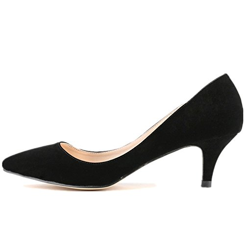 SAMSAY Women's Slender Kitten Heels Pointed Toe Pumps Court (Black Ballet Pumps)