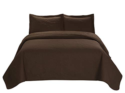 3 Piece MIKANOS Ultrasonic Embossed Bedspread Set-Oversized Coverlet 100x106in, 118x106in (Queen, Chocolate) (Chocolate Bedspread)