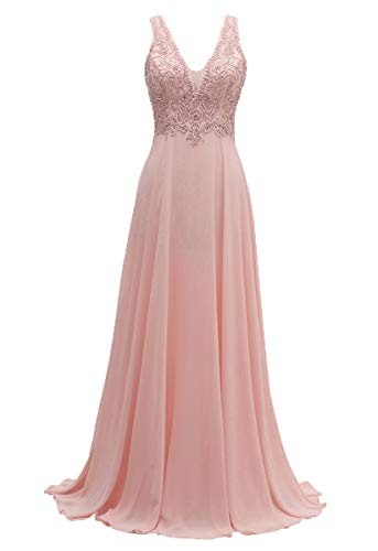 - V-Neck Bridesmaid Dresses Long Beaded Chiffon Lace Beach Wedding Aline Evening Gowns for Women Pink Size 8