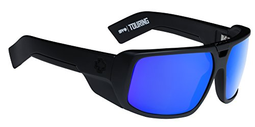 Spy Optic Touring Wrap Sunglasses, Matte Black/Happy Bronze/Blue Spectra, - Sunglasses Custom Spy