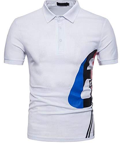 M&S&W Mens New Short Sleeve Polo T Shirt,Summer Basic Slim Fit Polo T Shirt White L ()