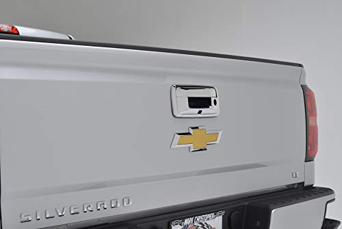 EAG Triple Chrome ABS Tailgate Door Cover With Camere Hole Fit Fit for 14-17 Chevy Silverado 1500 / GMC Sierra 1500/15-17 Silverado 2500/3500 / Sierra 2500/3500 / Canyon/Colorado ()