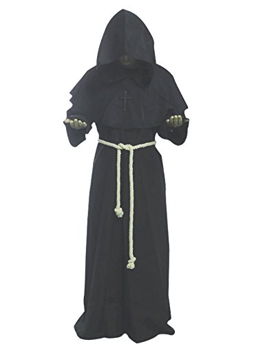 Friar Medieval Hooded Monk Renaissance Priest Robe Costume Cosplay Gray, Medium -