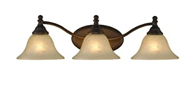 """Chloe Lighting CH21003RB25-BL3 """"Zoey"""" Transitional 3 Light Rubbed Bronze Bath Vanity Wall Fixture White Alabaster Glass 25.2"""" Wide"""
