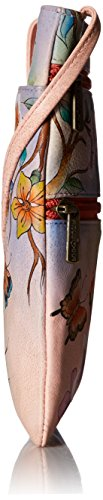 Anuschka handbemalte Ledertaschen, Schultertasche für Damen, Geschenk für Frauen, Handgefertigte Handtasche, Kleine Umhängetasche mit einem langen Riemen (Blumen, Japanese Garden 448 JPG)