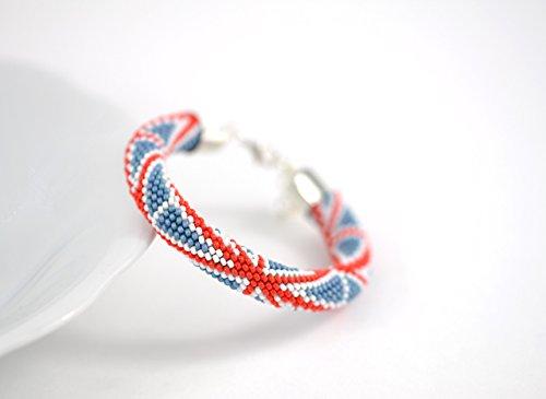 Patriotic Beaded Bracelet (Bangle Bracelet UK Flag - Beaded Bracelet - Bead Crochet Bracelet - White Blue Red Patriotic National Flag Multi-Colored Minimalist Beadwork Jewelry Unisex)