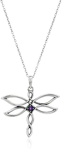 - Sterling Silver Oxidized Genuine African Amethyst Celtic Knot Dragonfly Pendant Necklace, 18