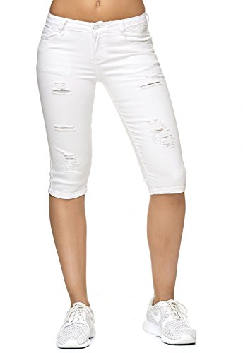 Jeans Donna Capri 3/4 Pantaloni Stretch Shorts Distrutti D2242 Bianco