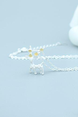 Korean Women Gift Ideas Plum elk Antlers Deer Necklace Pendant Personalized Fashion Women Girls Models Clavicle Chain Gift Packaging Boudoir Honey Send Holiday Gift Write Greeting (Boudoir Card)