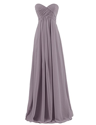 Prom Dress Silk Chiffon (Cdress Chiffon Sweetheart Long Bridesmaid Dresses Plus Size Prom Party Formal Gowns Grey US 14)
