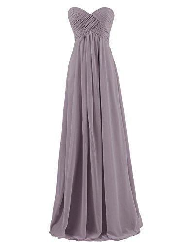 Prom Chiffon Silk Dress (Cdress Chiffon Sweetheart Long Bridesmaid Dresses Plus Size Prom Party Formal Gowns Grey US 14)