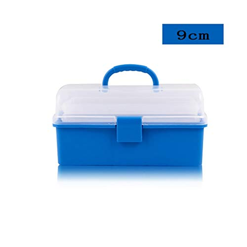 C-8/9 Box - ZSHLZG Art Box Plastic Transparent Three-Layer Storage Portable Portable Tool Box 3 Layers Folding Storage Box 8/9 inches (Color : C)