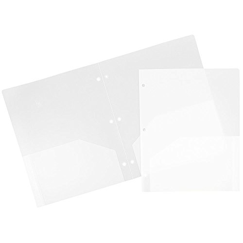 JAM Paper Plastic Two Pocket 3 Hole Punched Presentation School Folder - Clear - 108/pack