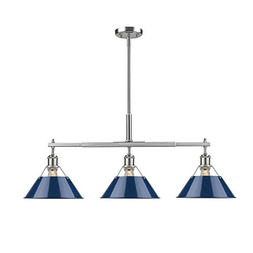 Golden Lighting 3306-LP PW-NVY Orwell - Three Light Linear Pendant, Pewter Finish with Navy Blue Shade