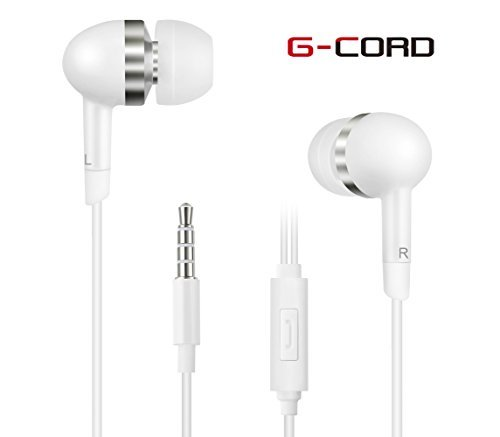 G-Cord In-Ear Earbuds with Built-in Mic  Earphones for iPhone, iPad, iPod, Samsung Galaxy Phones, Android Smartphones, Tablets, Computers, MP3 Players