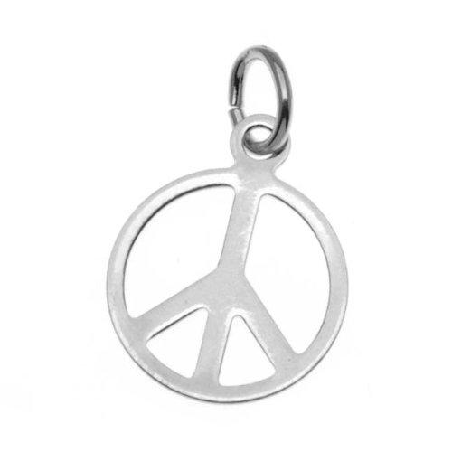 (Beadaholique Silver Plated Sleek Peace Sign Charm - 11mm Diameter (6))