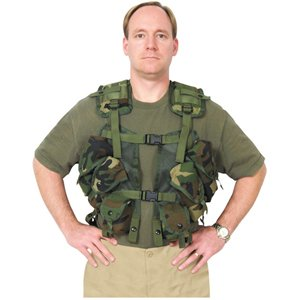 Woodland Camouflage Tactical Load Bearing Vest - One Size Fits Most