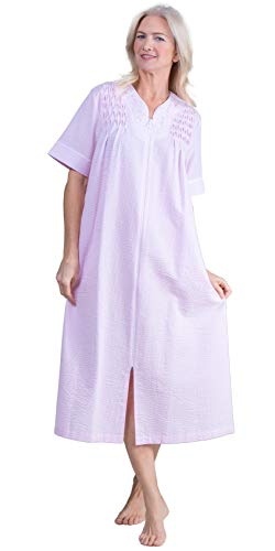 Miss Elaine Plus Robes - Long Smocked Zip Front Seersucker in Pink Stripe (Smocked Pink Stripe, 2X)