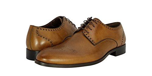 Demarchi Via Del Corso Heren Oxford Leer Ingewikkeld Medaillon Teen Detail Schoen M Cognac