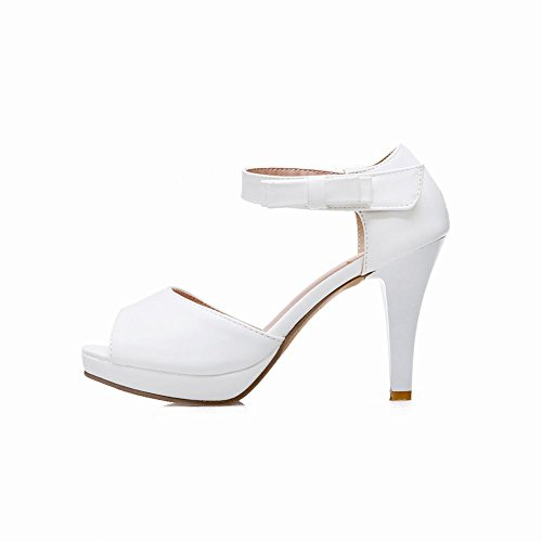 Carolbar Women's Fashion Bow Peep Toe Hgih Heel Stiletto Velcro Sandals White ZUjXXZ