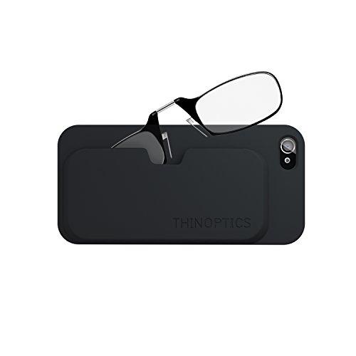 ThinOPTICS Reading Glasses on your Phone, iPhone 4/4s Black Case, +2.00 Black Glasses - Flexgrip Flexible Case