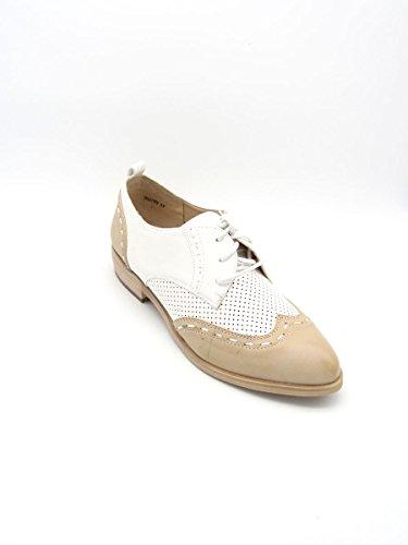 Nude Michela White-Beige–Zapatos de cordones bajas de Eco Piel–Martina Gabriele Shoes White/Beige