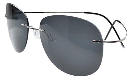 Aviator Titanium Sunglasses (Eyekepper Rimless Titanium Frame Polarized Sunglasses (Gunmetal/Grey Lens, 60))