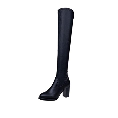 Over The Knee Boots, Tenworld Womens Chunky High Heels Slim Long Boots Black
