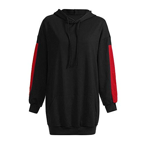 Hoodies for Womens Hot Sale,DEATU Ladies Fashion Loose Patchwork Clothes Sweatshirt Pullover Coat(Black,S)