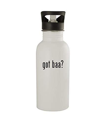 (Knick Knack Gifts got baa? - 20oz Sturdy Stainless Steel Water Bottle, White)