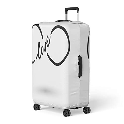 Price comparison product image Pinbeam Luggage Cover Infinity Symbol Word Love Ink Brush Modern Doodle Travel Suitcase Cover Protector Baggage Case Fits 22-24 inches