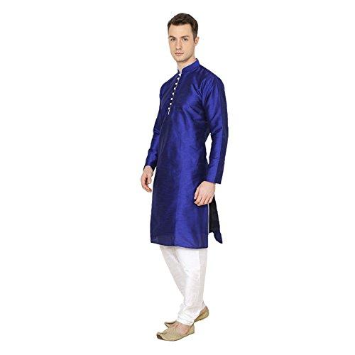 Royal Traditional Blue Indian Mens Kurta Pajama Diwali Cotton Silk Ethnic Wear by Royal