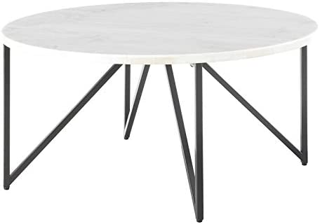 Best living room table: BOWERY HILL Round Marble Top Coffee Table