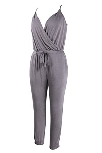 VamJump Women Grey Sleeveless Deep V Neck Drawstring Jogger Jumpsuit Pants (Deep V-neck Drawstring)