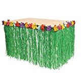 Fun Express Hawaiian Luau Hibiscus Green Table Skirt 9Ft Party Toy