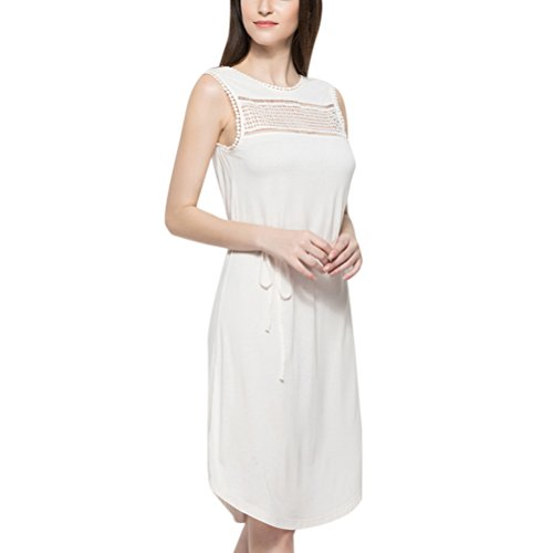 for Dress Zhuhaitf Breathable Stretchy Nightdresses Blend Women Long Elegant Ladies Casual Beige Cotton Sleepwear H4HYnSP